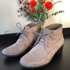 White Mountain Suede Lace Up Booties
